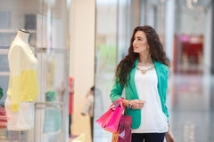 Beautiful young woman with shopping bags and gifts. Royalty Free Stock Photos