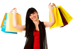 Beautiful young woman with shopping bags isolated Stock Image
