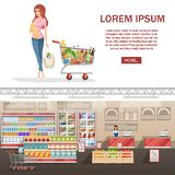 Beautiful young woman with shopping cart full of packages with vegetables and fruits. Happy smiling woman with products. Flat. Illustration on white background vector illustration
