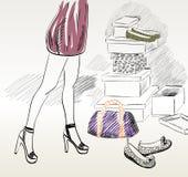 Shopping. Beautiful Young woman shopping for fashion shoes Royalty Free Stock Photo
