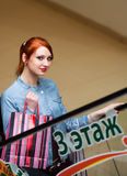 Beautiful young woman shopping Stock Images