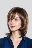 Beautiful young woman with short brown hair Stock Images