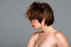 Beautiful young woman with short hair style Stock Photo