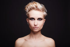 Beautiful young woman with short haircut Royalty Free Stock Images