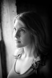 Beautiful Young Woman Shot in Black and White Window Light royalty free stock images
