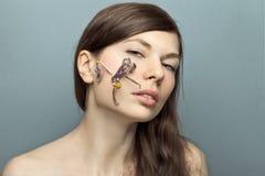 Beautiful young woman shot in studio no makeup. Royalty Free Stock Images