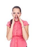 Beautiful young woman shouting Royalty Free Stock Photography