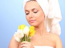 Beautiful young woman after shower with a towel Stock Image