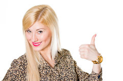 Beautiful young woman showing thumb up copy space Stock Image