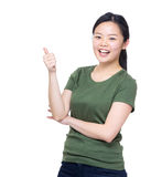 Beautiful young woman showing thumb up Stock Photography