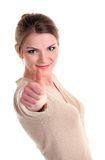 Beautiful young woman showing thumb up sign Royalty Free Stock Photos