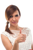 Beautiful Young Woman Showing Thumbs Up Sign Royalty Free Stock Image