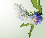 Beautiful young woman silhouette. With flower Royalty Free Stock Images