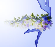 Beautiful young woman silhouette. With flower Stock Photography