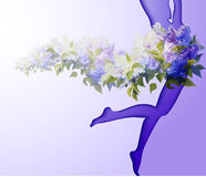 Beautiful young woman silhouette. With flower Royalty Free Stock Photos
