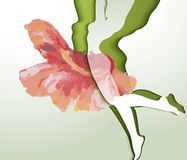 Beautiful young woman silhouette. With flower Royalty Free Stock Image