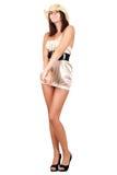 Beautiful young woman in silk dress Stock Photo