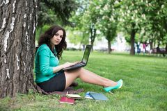 The beautiful young woman sits on a grass Royalty Free Stock Photos