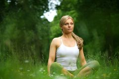 Beautiful young woman sitting in yoga pose in the forest stock photography