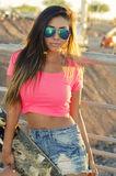 Beautiful young woman skateboard Royalty Free Stock Photography