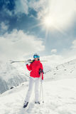 Beautiful young woman with ski. Royalty Free Stock Photos