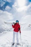 Beautiful young woman with ski. Stock Image