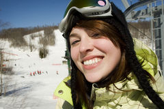 Beautiful young woman skier Royalty Free Stock Image