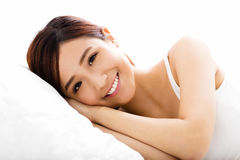 Beautiful young  woman  sleep on the bed Stock Photography