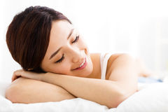 Beautiful young  woman  sleep on the bed Stock Images