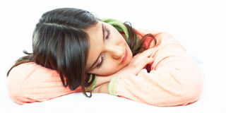 Beautiful young woman sleep in bed. Royalty Free Stock Photos