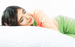 Beautiful young woman sleep in bed Stock Photography