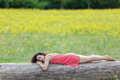 Beautiful young woman sleeping on Stock Photography