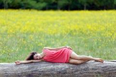 Beautiful young woman sleeping on Stock Photo