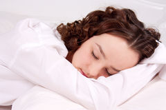 Beautiful young woman sleeps Royalty Free Stock Photos