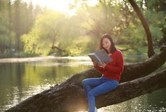 Beautiful young woman with smile reading book in the park and sitting on a wooden tree on river. Asian chinese Woman reading a book on a beach with Sunshine at Stock Images