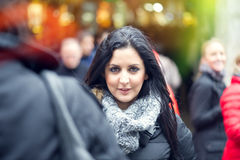 Beautiful young woman smiling outdooors. Royalty Free Stock Photos