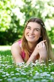 Beautiful young woman smiling outdoors Royalty Free Stock Images