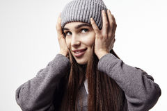 Beautiful young woman smiling. Winter mood. Happy face emotions Stock Image