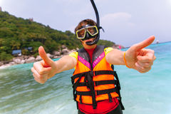 Beautiful young woman with snorkeling equipment Royalty Free Stock Photos