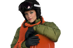Beautiful young woman with snowboard Royalty Free Stock Image