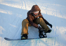Beautiful Young Woman with Snowboard Royalty Free Stock Photos