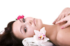 Beautiful young woman in spa. Stock Photography