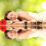 Young woman in a spa. Beautiful young woman in a spa stock photo