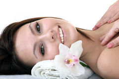 Beautiful young woman in spa. Stock Photo