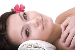 Beautiful young woman in spa. Health. Royalty Free Stock Images