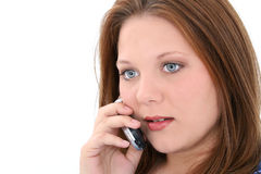 Beautiful Young Woman Speaking On Cellphone Stock Photo