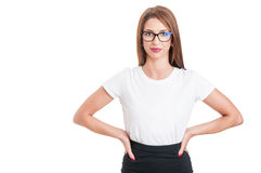 Beautiful young woman with spectacles looking confident Stock Photography