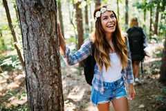 Beautiful young woman spending time in nature Stock Photos