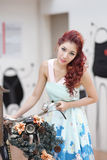 Beautiful young woman stand alone at the outdoor mall. Model is Thai Ethnicity Stock Photography