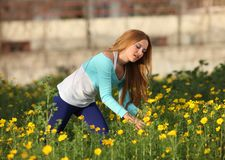 Beautiful young woman standing in meadow Royalty Free Stock Photo